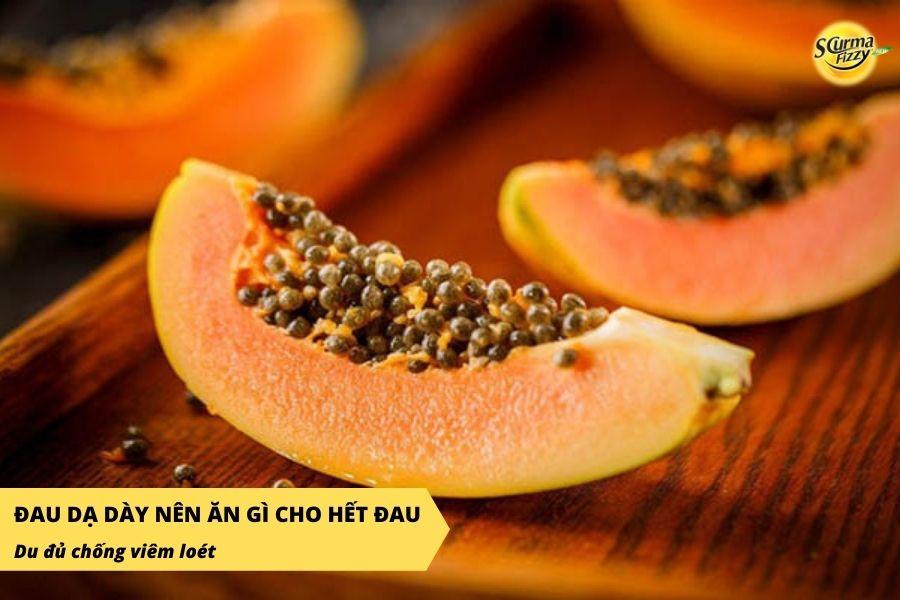 Đu đủ chứa enzym papain trung hòa axit dư thừa, giúp giảm đau chống viêm loét